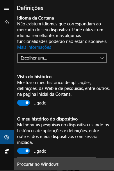 Definições Cortana - Windows 10