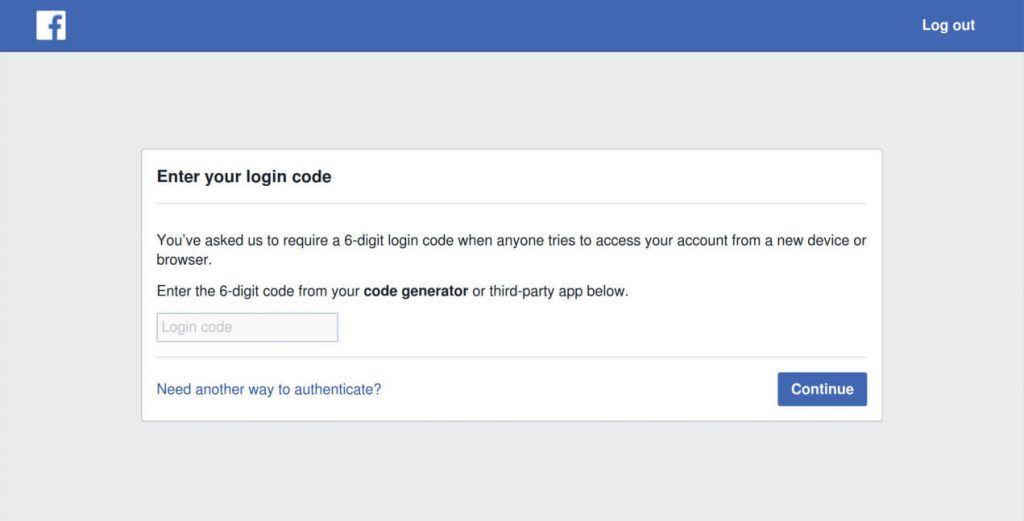 Verificação em dois passos - Facebook