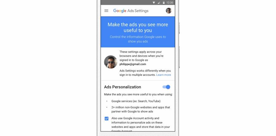 Google AdSettings ReminderAds