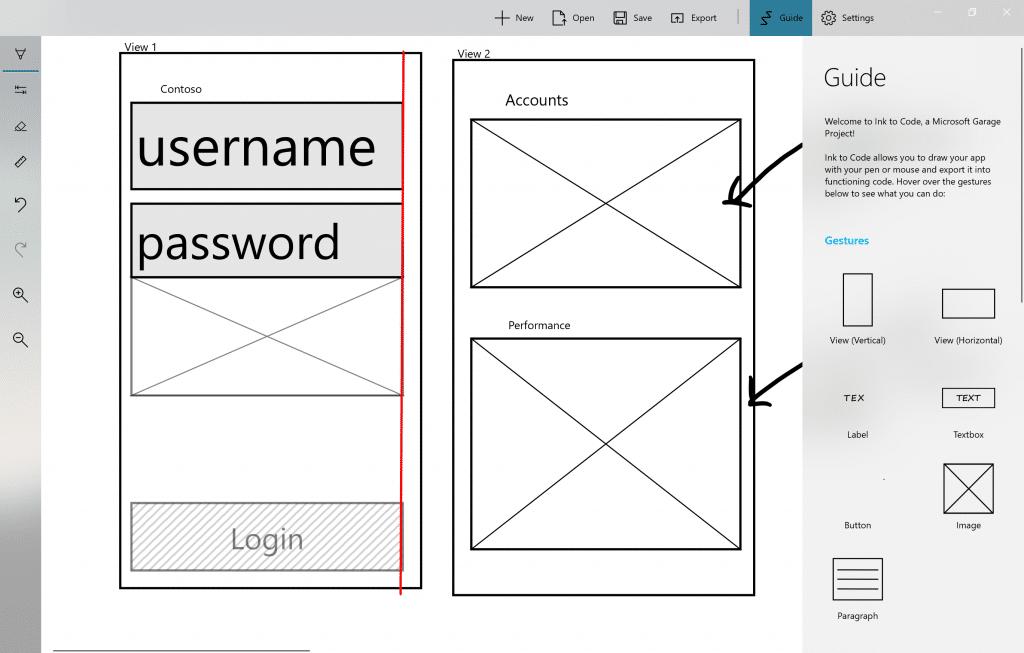 Ecrã Ink to Code