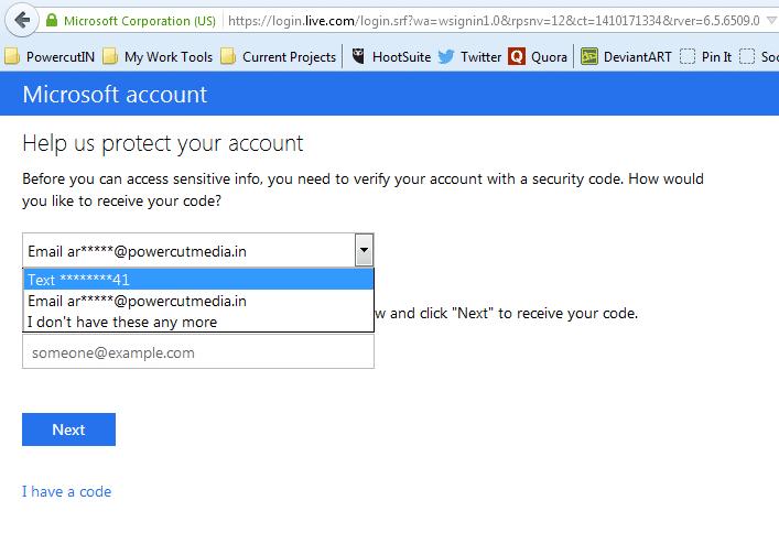 Verificação em dois passos - Código Microsoft