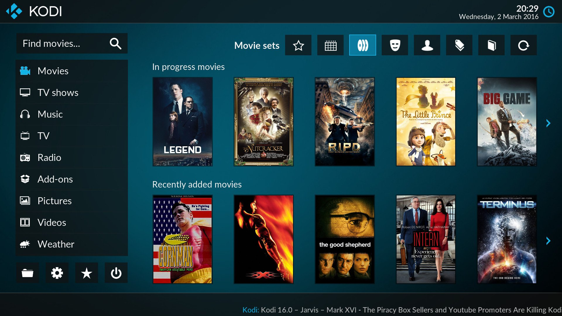 Interface do Kodi
