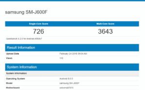 Geekbench Samsung SM J600F