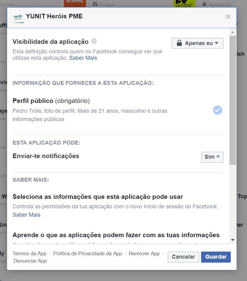 Editar aplicações no Facebook