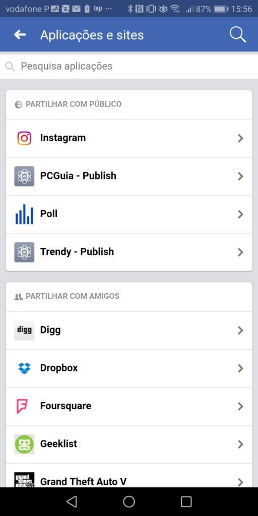 Editar aplicações do Facebook no smartphone