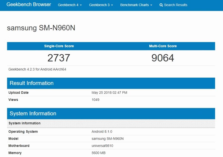 Geekbench Samsung SM N960N