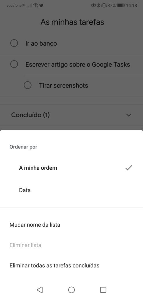 Organizar Tasks organize a sua vida com a google tasks - Screenshot 20180521 141845 494x1024 - Organize a sua vida com a Google Tasks