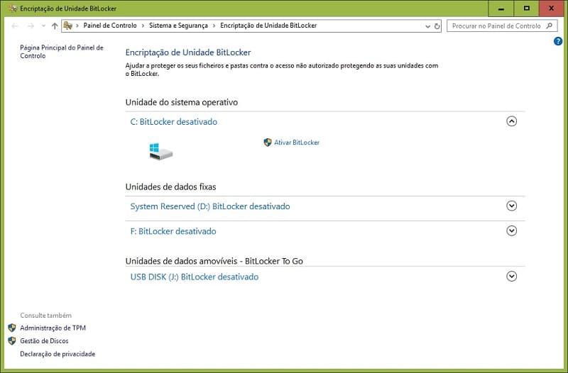 Segurança - Proteja seus ficheiros com BitLocker