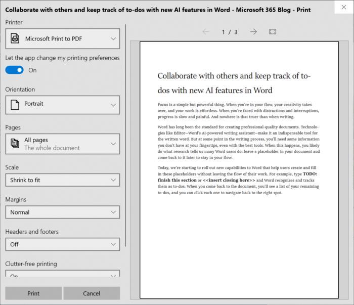 Impressão Windows 10