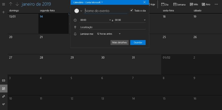 Calendário Windows 10