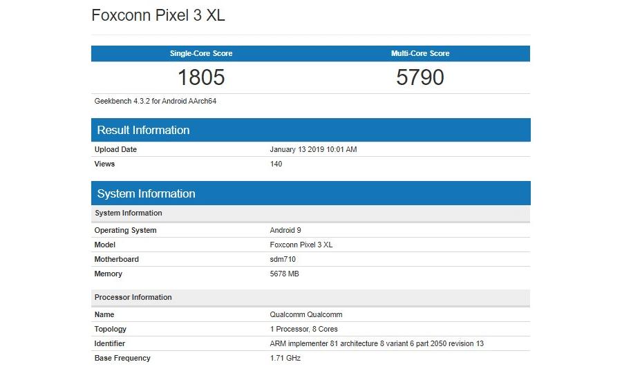Geekbench Pixel 3 Lite XL