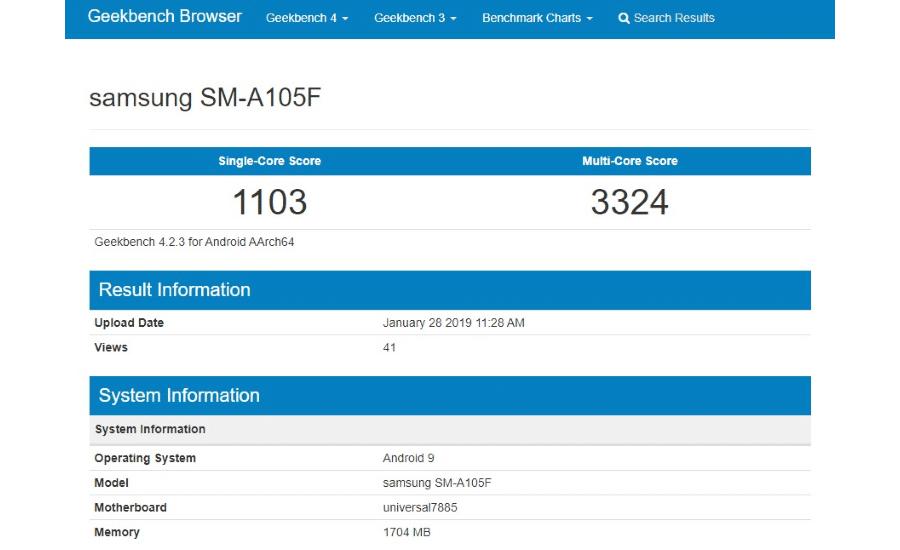 Geekbench Samsung SM-A105F