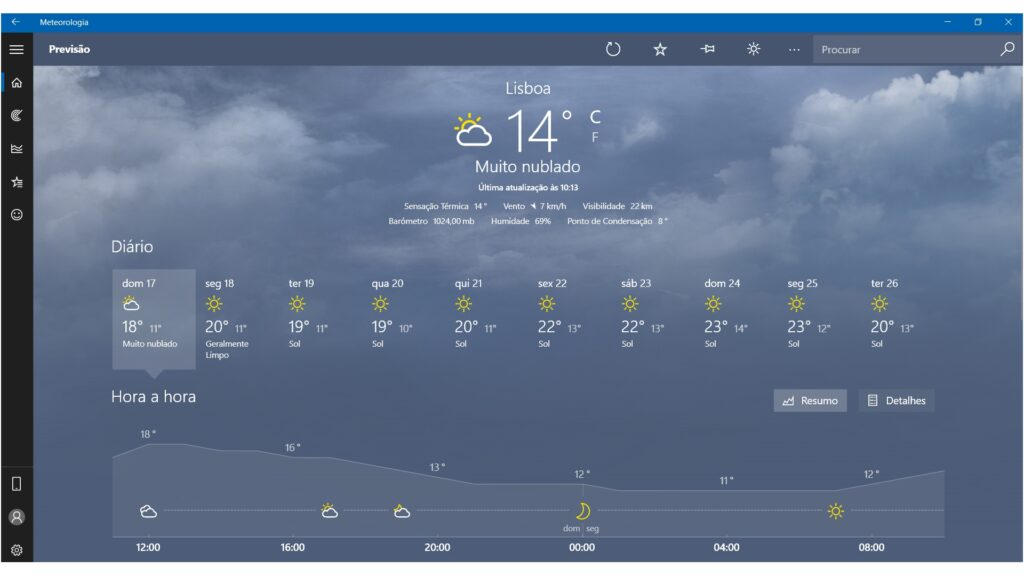 Meteorologia Windows 10