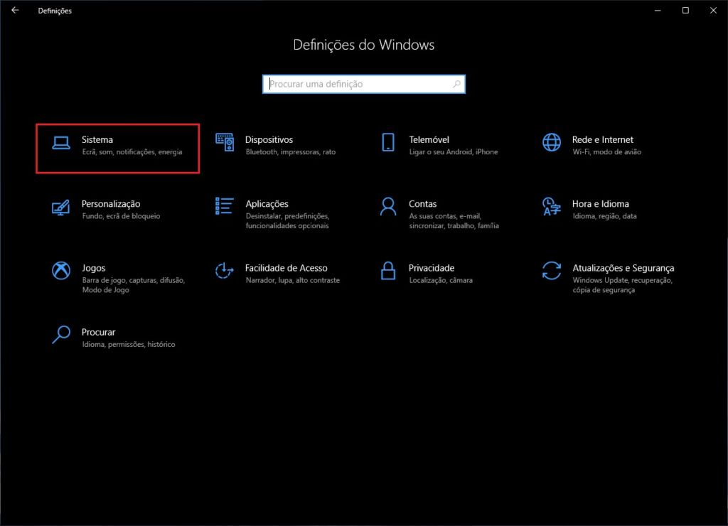 Definições Windows 10