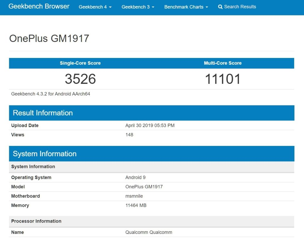 Geekbench OnePlus GM1917