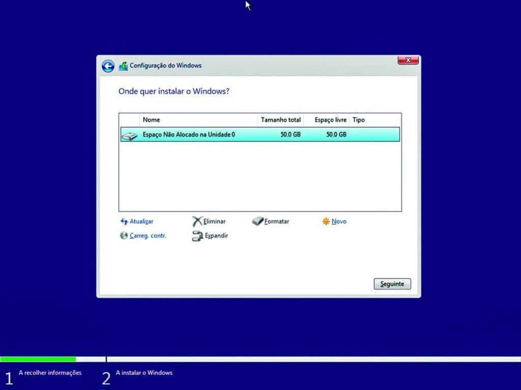 Instalar Windows - Escolha de Partição