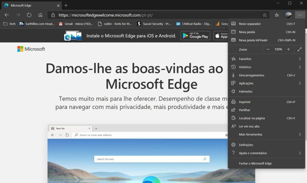 Definições Chromium Microsoft Edge