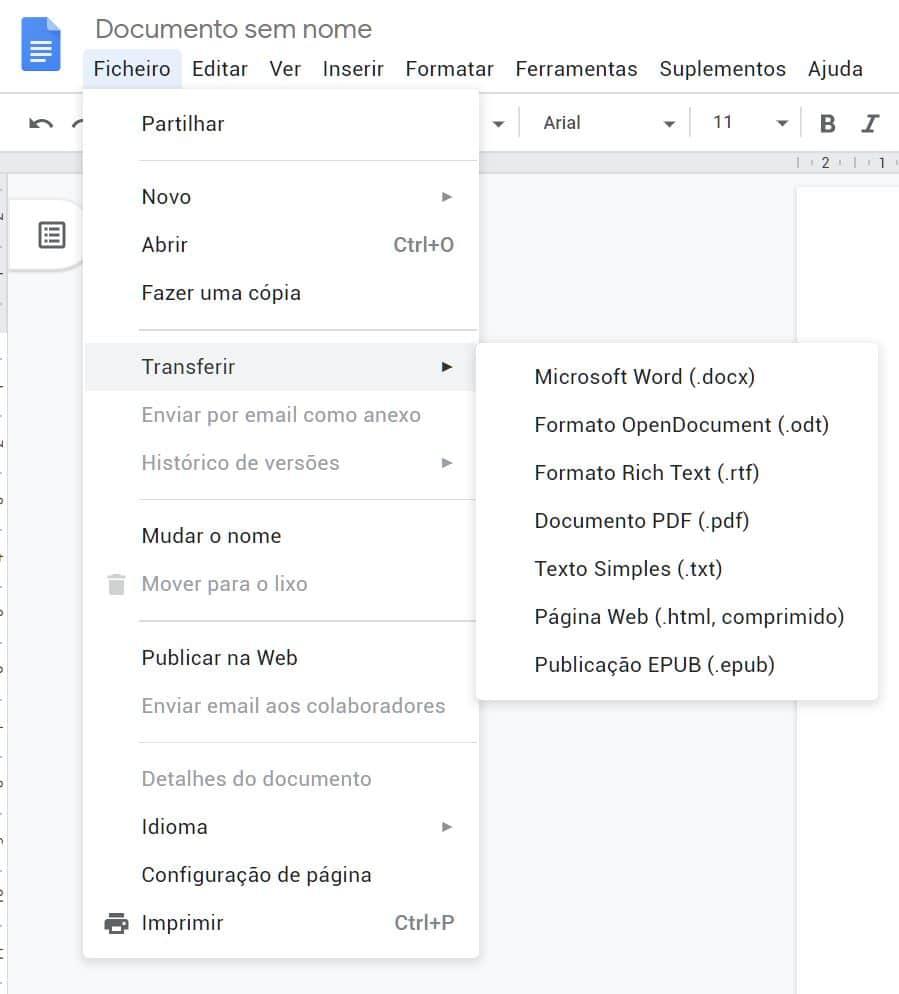 Conversão - Google Docs
