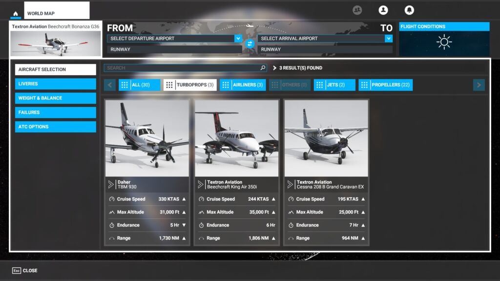 Aviões a Turbo-Hélice Microsoft Flight Simulator